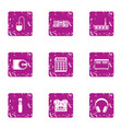 processing icons set grunge style vector image vector image
