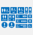 restroom signs and toilet icons vector image vector image