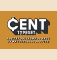 retro 3d display font design alphabet letters vector image vector image