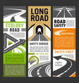 road safety and ecology service banners of highway vector image vector image