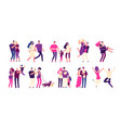 romantic people set happy couples hug kiss vector image
