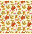 seamless forest pattern with acorns and autumn vector image vector image