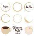 set cup stains morning coffee vector image