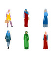 set of muslim women vector image vector image