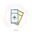 simple airplane tickets icon - linear style icon vector image vector image
