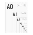 standard paper sizes a series from a0 to a10 vector image vector image