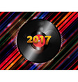 Twenty Seventeen New Year vinyl record background vector image vector image