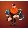 viking with axe angry red bearded antique warrior vector image vector image