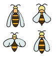 wasp icons set line color vector image vector image