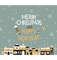 winter town with greeting vector image vector image