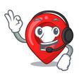 with headphone map marker navigation pin mascot vector image