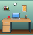 workplace in room with green wall vector image vector image