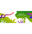 world animal day banner exotic jungle snake vector image vector image