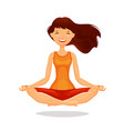 young woman girl practicing yoga in lotus pose vector image vector image