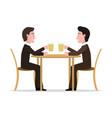 two cartoon men drinking beer vector image