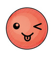 cute red kawaii emoticon face vector image
