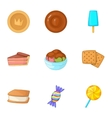 Sweets icons set cartoon style vector image