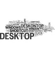 a desk on top text word cloud concept vector image vector image