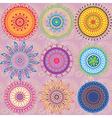 A set of 9 colored mandalas vector image vector image