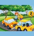 accident scene with people and car crash vector image vector image