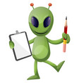 alien with pencil and notebook on white vector image