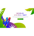 animal day landing page template exotic birds vector image