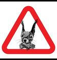Animal free sign warning squirrel zone vector image