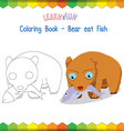 Bear eat fish coloring book educational game vector image