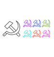 black line hammer and sickle ussr icon isolated on vector image vector image