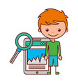 boy and magnifying glass mobile vector image