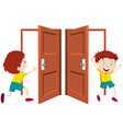 boy going in and out the door vector image