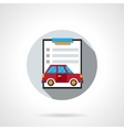 Car insurance contract flat round icon vector image