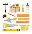 carpentry and woodwork tools set repair vector image vector image