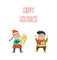 cartoon kids with present gift set vector image