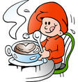cartoon of an happy elf there is at a cafe vector image vector image
