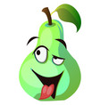cartoon pear with tongue out on white background vector image vector image