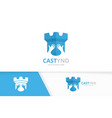 castle and hands logo combination tower vector image