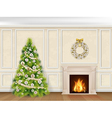christmas interior in classic style vector image vector image