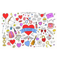 collection of colorful valentines day elements vector image