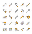 construction tools color icons set vector image