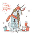 cute christmas unicorn vector image