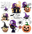 cute halloween with owl black cat and spider vector image vector image