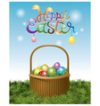 Easter Eggs in Basket and Hanging Eggs vector image