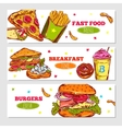 Fast Food Sketch Horizontal Banners vector image vector image