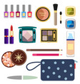 female cosmetics large set in a flat style vector image vector image