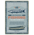 fishing club tournament retro banner with fish vector image vector image