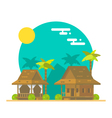 Flat design of beach bungalows vector image vector image