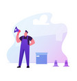 foreman in working overall yelling to megaphone vector image vector image
