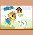 funny cat cartoon climb a tree vector image