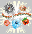 halloween background with flat icons vector image